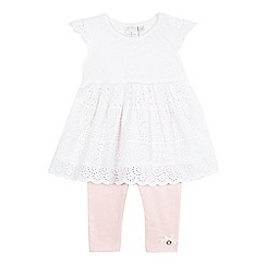 J by Jasper Conran - Baby girls' white Broderie Anglaise tunic and leggings set