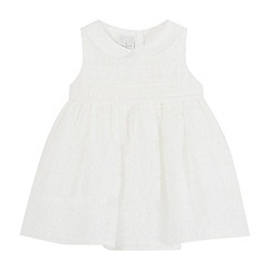 J by Jasper Conran - Baby girls' white burnout stripe dress