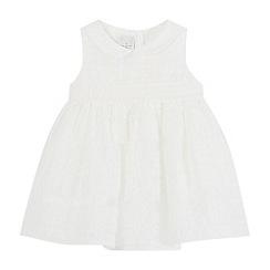 J by Jasper Conran - Baby girls' white burnout stripe dress