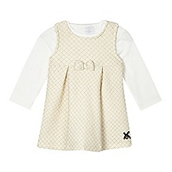 J by Jasper Conran - Baby girls' gold quilted dress and cream top set
