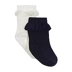 J by Jasper Conran - Pack of two baby girls' navy and white frilled socks