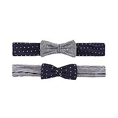J by Jasper Conran - Pack of two baby girls' navy striped and polka dot print bow headbands