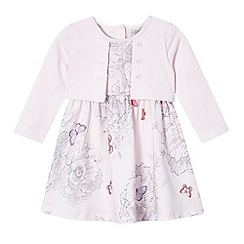 RJR.John Rocha - Baby girls' pink floral dress and mock cardigan set