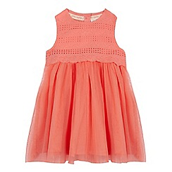 RJR.John Rocha - Baby girls' peach pink broderie mockable dress