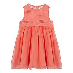 RJR.John Rocha - Baby girls' peach pink broderie mockable dress