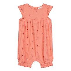RJR.John Rocha - Baby girls' dark peach broderie romper suit