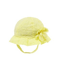 RJR.John Rocha - Baby girls' yellow broderie flower applique hat