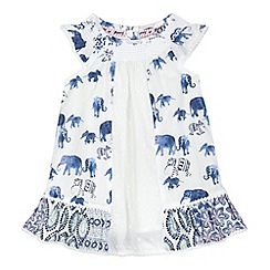 Mantaray - Baby girls' cream elephant print dress