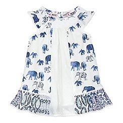 Mantaray - Baby girls' cream elephant print dress