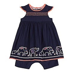 Mantaray - Baby girls' navy elephant stitched dress and mock romper suit