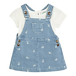 Mantaray - Baby girls' denim pinafore dress and top set