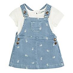 Mantaray - Baby girls' denim pinafore dress and top set