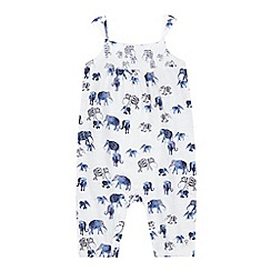 Mantaray - Baby girls' white elephant print romper suit