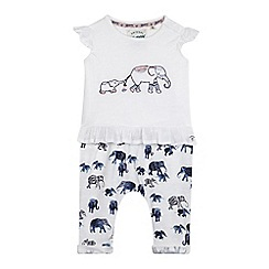 Mantaray - Baby girls' white t-shirt & harem set