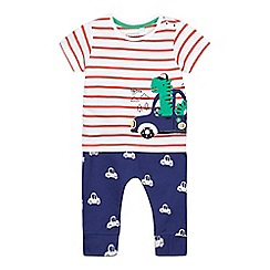 bluezoo - Baby boys' white striped dinosaur applique and blue jogging bottoms set