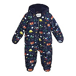 bluezoo - Baby boys' navy transport print snowsuit