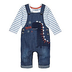 bluezoo - Baby boys' navy denim dungarees and striped print bodysuit