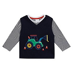 bluezoo - Baby boys  black striped t-shirt and tractor tank set