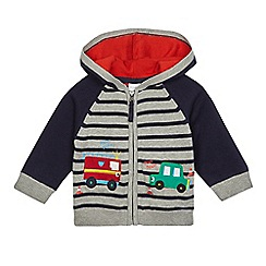 bluezoo - Baby boys' grey fire engine and car applique hooded cardigan