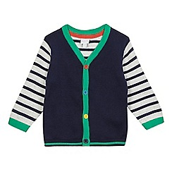 bluezoo - Baby boys' navy striped sleeved cardigan