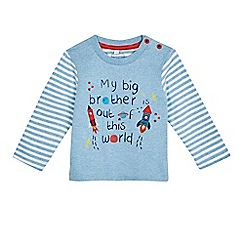 bluezoo - Baby boys' blue 'My big brother' slogan print top