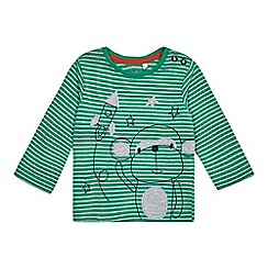 bluezoo - Baby boys' green monkey and rocket applique top