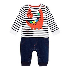 bluezoo - Baby boys' navy and white striped print dinosaur applique mock romper suit