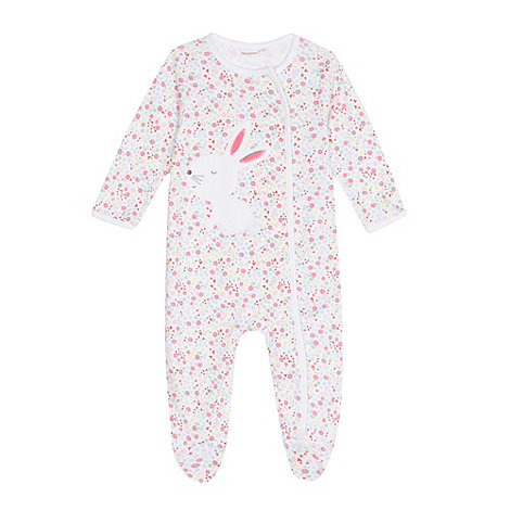 bluezoo - Babies white floral bunny sleepsuit