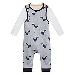 bluezoo - Baby boys  grey dinosaur print dungarees