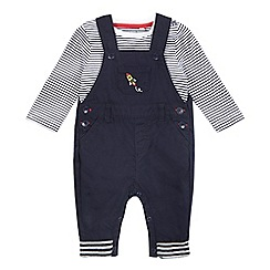 bluezoo - Baby boys' navy striped print bodysuit and dungarees set