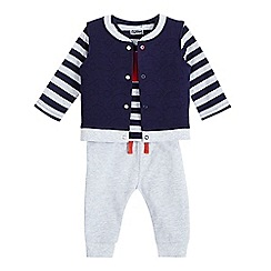 bluezoo - Baby boys' navy car applique gilet, top and jogging bottoms set