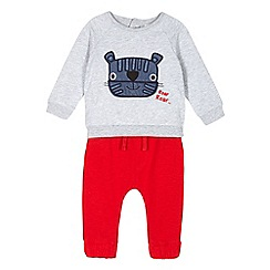 bluezoo - Baby boys' grey tiger applique sweater and red jogging bottoms set