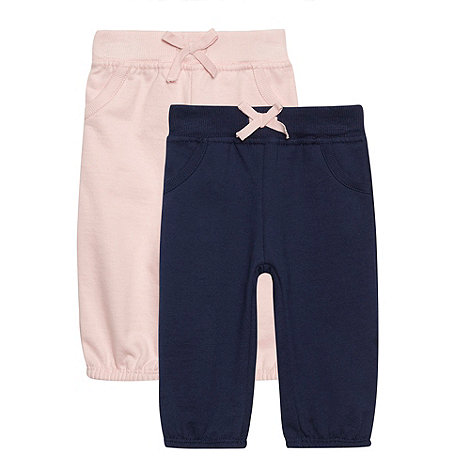 bluezoo - Babies pack of two pink and navy jogging bottoms