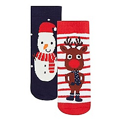 bluezoo - Pack of two baby boys' navy snowman and red reindeer socks