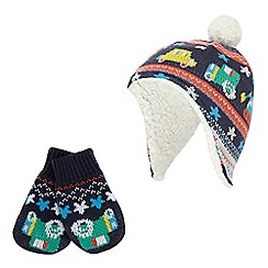 bluezoo - Baby boys' navy vehicle knitted trapper hat and mittens set