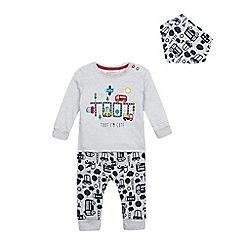 bluezoo - Baby boys' grey striped print top, bottoms and bib set