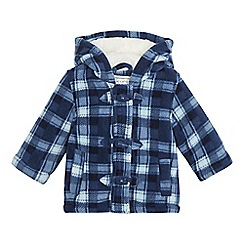 bluezoo - Baby boys' blue checked print fleece coat