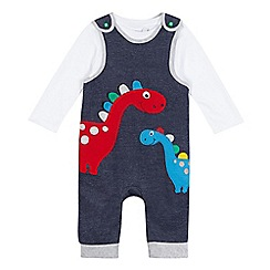 bluezoo - Baby boys' blue applique dinosaur dungaree set