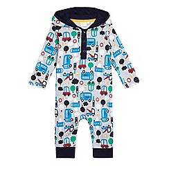 bluezoo - Baby boys' grey transport print romper suit