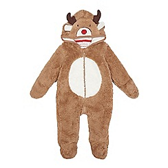 bluezoo - Baby boys' brown reindeer all-in-one
