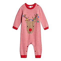 bluezoo - Babies red striped reindeer knit all-in-one