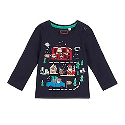 bluezoo - Baby boys' navy Santa applique top