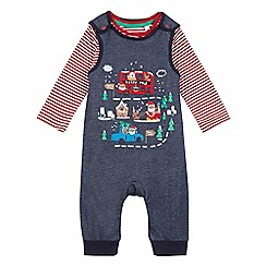 bluezoo - Baby boys' navy Santa applique dungarees and striped top set