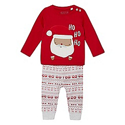 bluezoo - Baby boys' red Santa applique pyjama set
