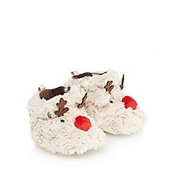 bluezoo - Babies natural faux fur reindeer applique booties