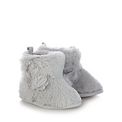 bluezoo - Baby boys' grey bear slipper booties