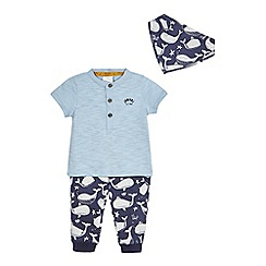 J by Jasper Conran - Baby boys' blue top, navy whale print joggers and bib set
