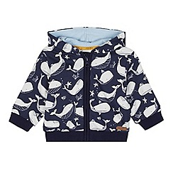 J by Jasper Conran - Baby boys' navy whale printed sweat hoodie