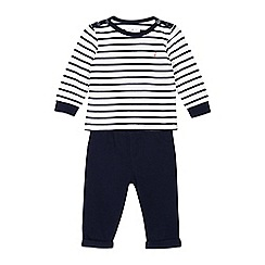 J by Jasper Conran - Baby boys' navy striped print top and trousers set