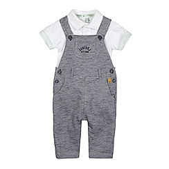 J by Jasper Conran - Baby boys' navy textured stripe dungarees and white polo shirt set